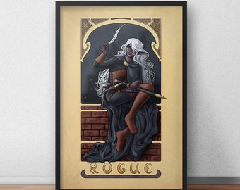 "La Roublarde - The Rogue - 20""x30"" Print - Tabletop Nouveau Dungeons and Dragons Pathfinder Art Nouveau"