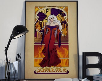 L'Ensorcelleur - The Sorcerer - Print - Tabletop Nouveau Dungeons and Dragons Art Nouveau Gamer Pathfinder