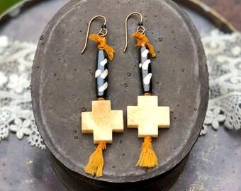 Handmade Earrings, Bone, Black Stone, and Copper Beads, Amber Colored Vintage Silk Ribbon, Vintaj Brass Ear Wires, Rustic, Boho, Tribal