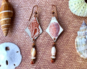 Handmade Earrings, Decoupaged Used Vintage Postage Stamps, Seashells, Dogwinkle, Reticulated Helmet, Copper, Shell Beads, One of a Kind