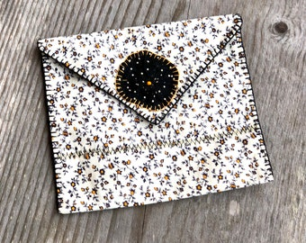Handmade Pouch, Envelope Style, Snap Closure, Lined, Gift Wrap, Gift Bag, Re-Usable, Cloth Bag, Floral Calico, Yo-Yo, Hand Stitching