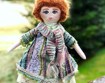 Handmade Cloth Doll, Heirloom, Soft Pink Linen, Crocheted Wool Hair, Handmade Clothing with Vintage Fabrics and Lace, Scarf and Necklace
