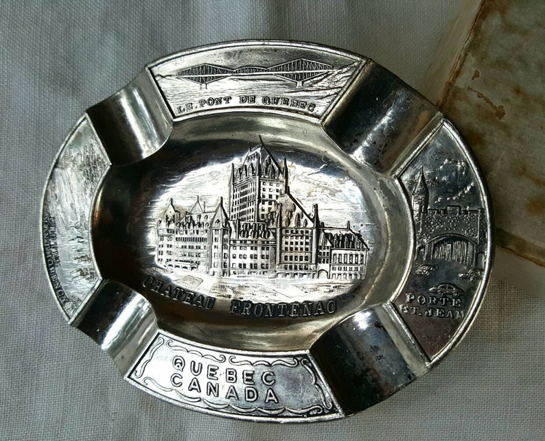 Quebec Canada Souvenir with Four Landmarks Made in Japan Vintage Silver Plate Tin Ashtray
