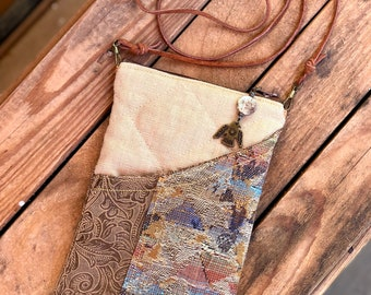 Small Handcrafted Phone Purse, Over Shoulder or Crossbody, Upholstery Fabrics, Zipper Pouch, Stone and Brass Thunderbird Charm Zipper Pull