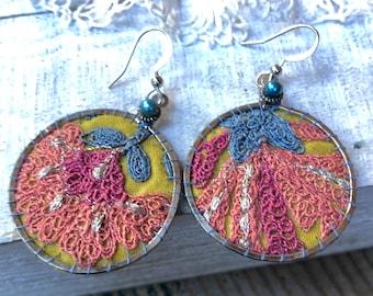 Handmade Earrings, Vintage Embroidered Sari Textile, Hoops, Metallic Thread, Silver Finish, Wool Felt, Floral, One of a Kind