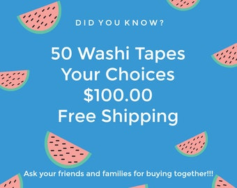Buy 50 Assorted Washi Tapes - 10m Whole Roll - Your Choices - Free Shipping - Erin Condren  - Planner - Bujo Journal - Love My Tapes