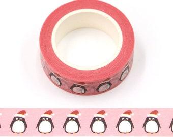Cute Christmas Penguin Washi Tape - Craft Supplies - Scrapbooking - Planner Stickers - Erin Condren - Bujo Planner - Bible Journaling - Bujo