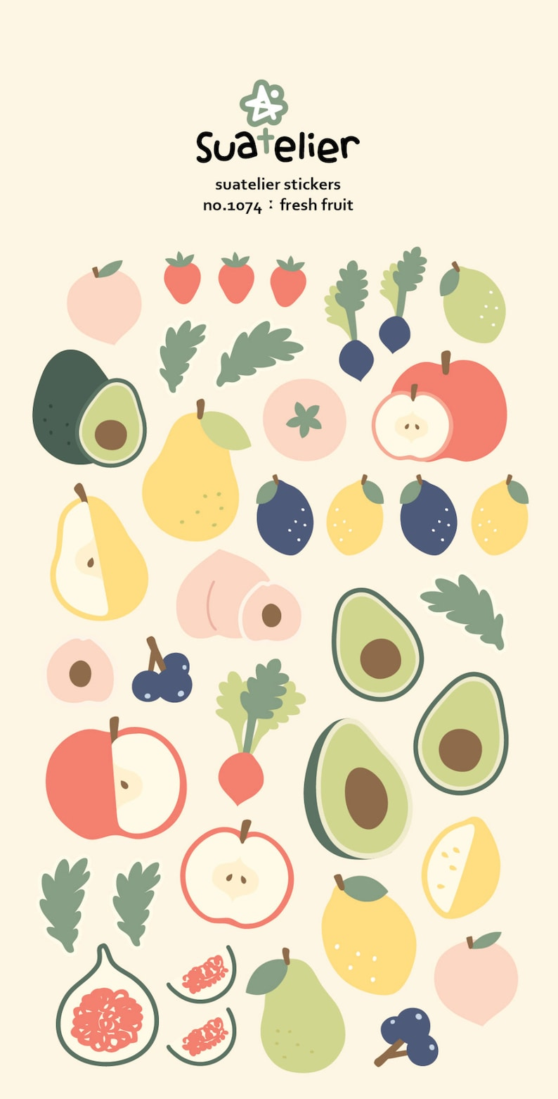 Fresh fruit stickers 1074  scrapbooking stickers Planner image 0