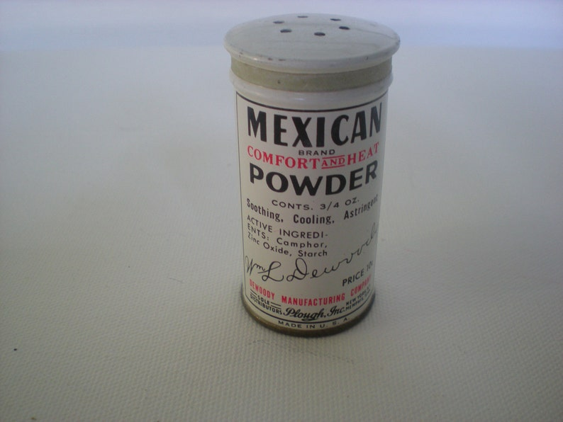 Sample Retro Bottle Mexican Brand Comfort and Heat Powder
