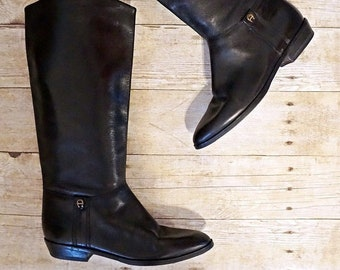 e24ea8c1d Vintage Ink Black Leather Riding Boots | 7.5