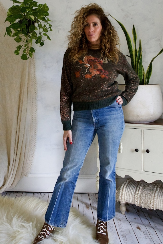 Vintage 70's Metallic Embroidered Bronze Leather T