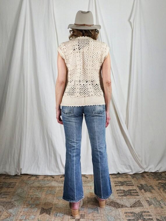 Vintage 70's Handknit Crochet Knit Sleeveless Dra… - image 6