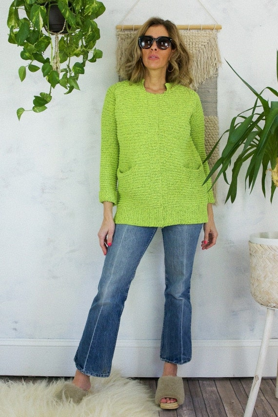 Vintage 80's Neon Vibrant Day-Glo Green Ribbed Not