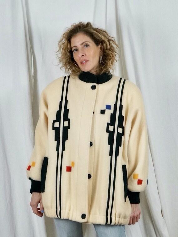 Vintage 80's Southwestern Wool Patchwork Bomber Ab
