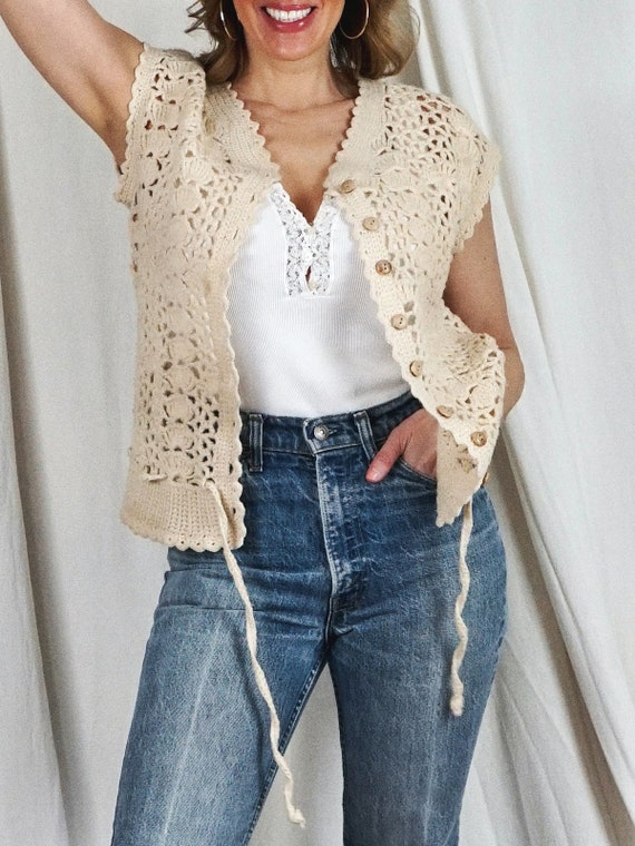 Vintage 70's Handknit Crochet Knit Sleeveless Dra… - image 4