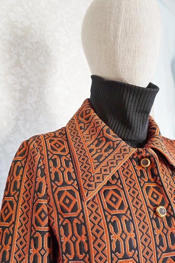Vintage 60's Mod Red Tapestry Sleeveless Pattern B