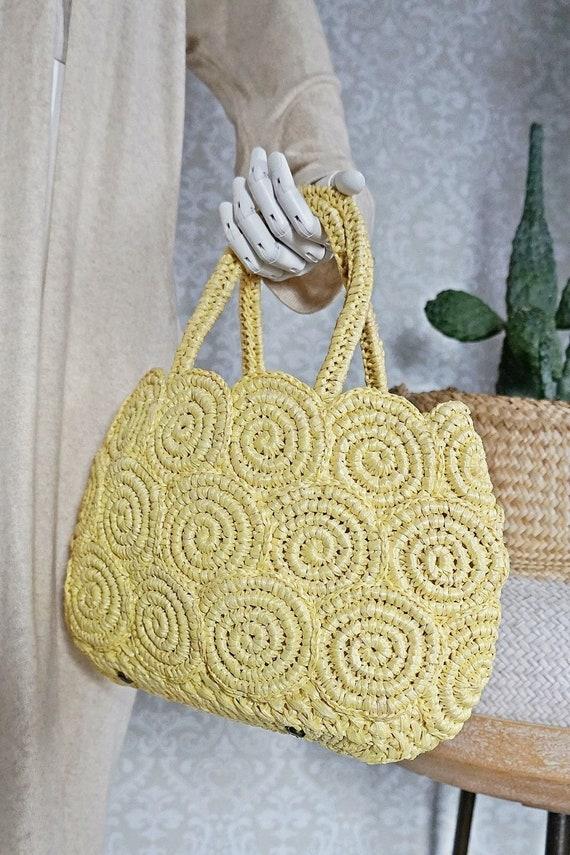 Vintage 60's Buttercream Yellow Raffia Woven Scall
