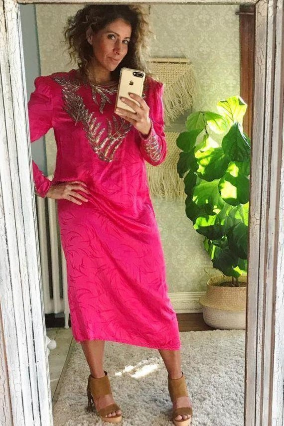Vintage 80's Hot Pink Silk Intricate Silver Beaded