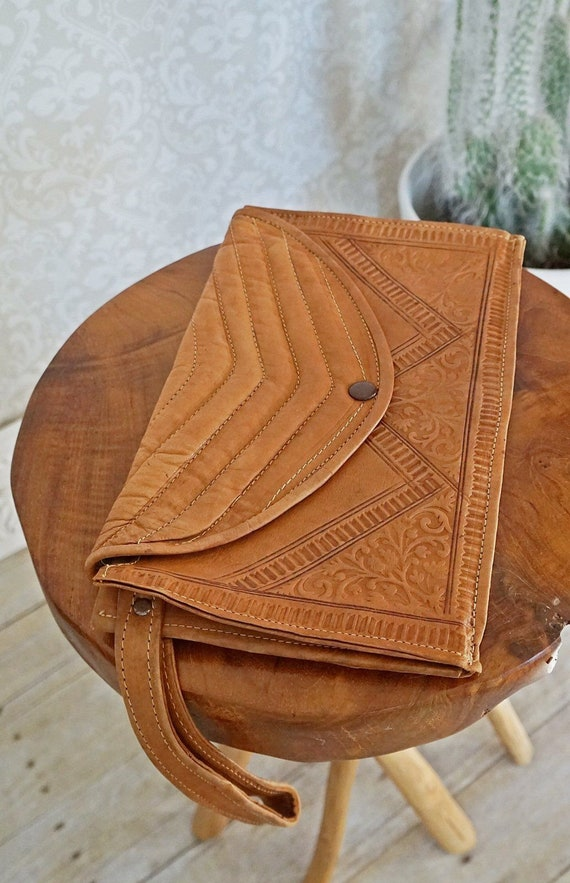Vintage 70's Moroccan Quilted Whiskey Leather Purs
