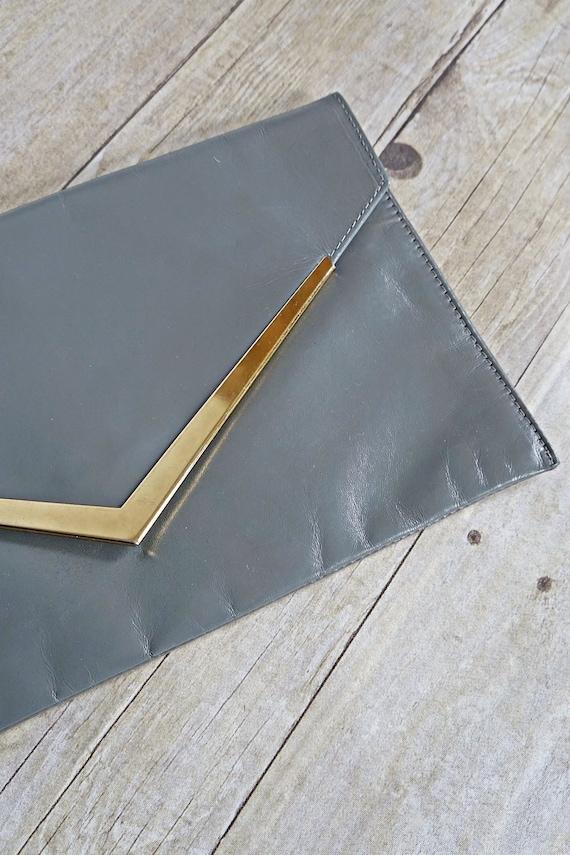 Vintage 70's Gunmetal Leather Golden Hardware Pais