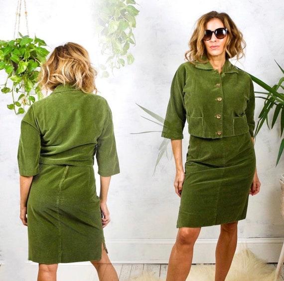Vintage 50's Moss Green Corduroy Cropped Jacket/Pe