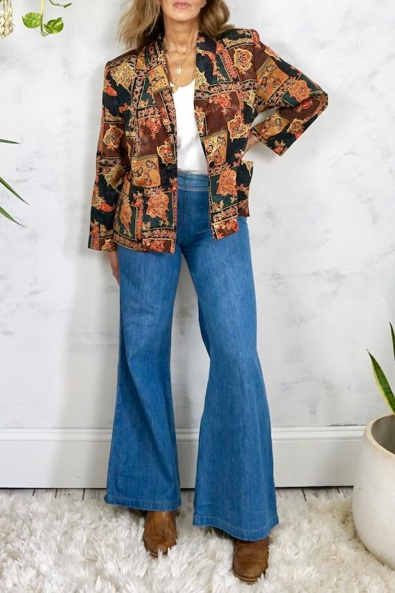 Vintage 80's Paisley Silky Satin Padded Shoulder D