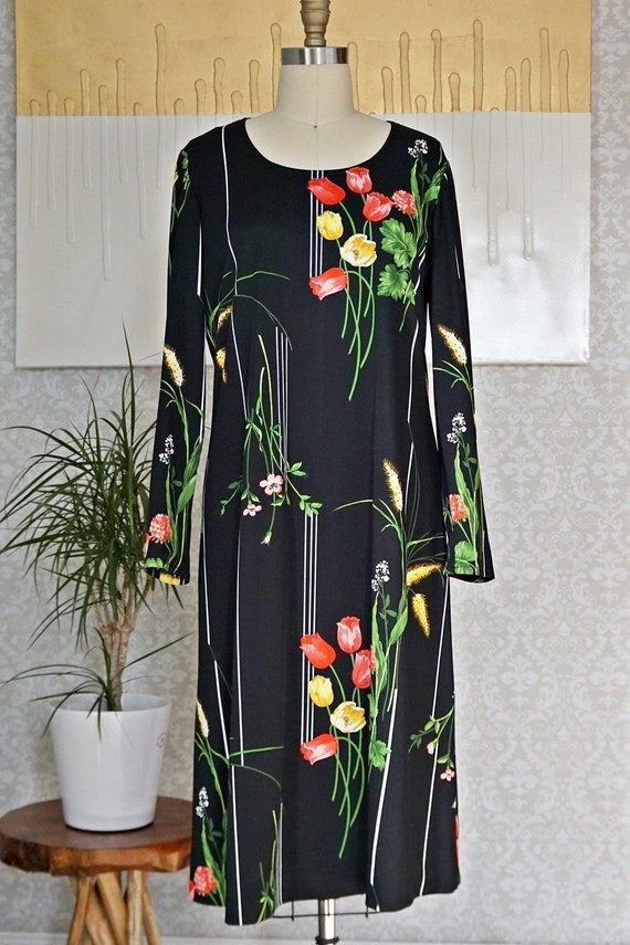 Vintage 70's Bold Tulip Print Chic Dress - image 3