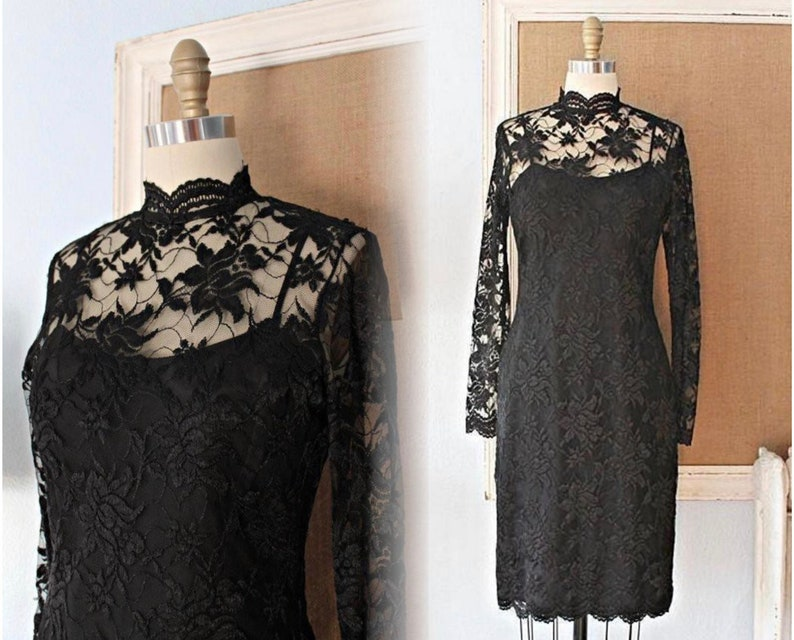 Vintage 80/'s Black Lace High-Neck Dress