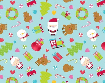 Santa Express Main Blue by Doodlebug Designs for Riley Blake, 1/2 yard