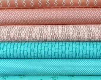 Designer Coral and Teal Fat Quarter Bundle, 6 pieces, 1 1/2 yards total