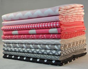 Designer Pink/Gray Fat Quarter Bundle,  10 pieces, 2 1/2 yards total