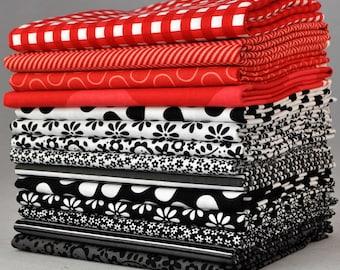 Designer Black/White/Red Fat Quarter Bundle, 14 pieces, 3 1/2 yards total