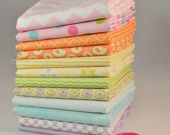 Pastel Fat Quarter Bundle, Designer cotton, 12 pieces, 3 yards total