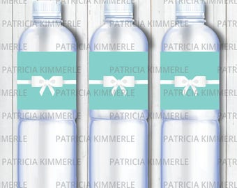 Printable Bottle Labels Breakfast At Tiffanys Birthday Party Decorations DIY Favors Chic Fashion Modern INSTANT DOWNLOAD