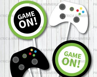 Centerpiece Printable Video Game Party On Green Teen Gaming Level Up Gamer Birthday Decorations DIY INSTANT DOWNLOAD