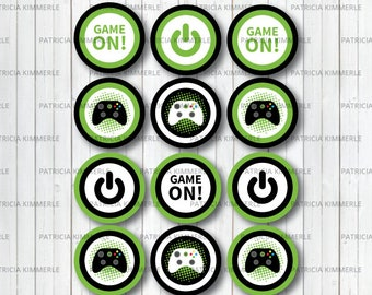Printable Cupcake Toppers Video Game Party On Green Teen Gaming Level Up Gamer Birthday Decorations DIY INSTANT DOWNLOAD