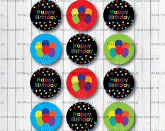 Printable Cupcake Toppers Happy Birthday Topper Balloon Confetti Boy Girl Favors Decorations DIY Generic INSTANT DOWNLOAD