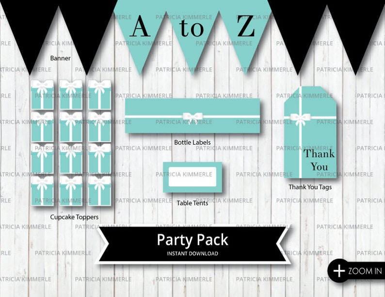Printable Party Pack Breakfast At Tiffany S Birthday Etsy