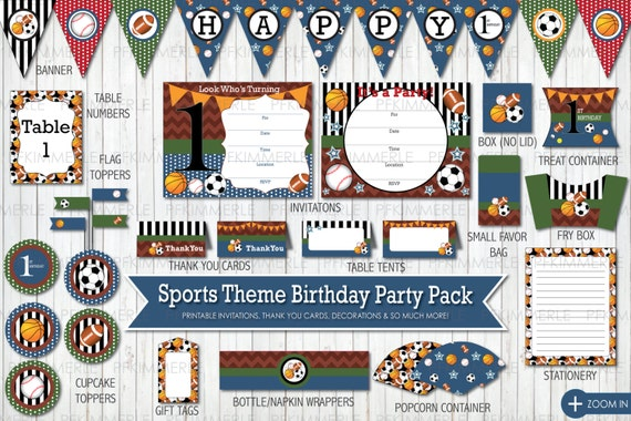 Items Similar To Sports Themed All Star Birthday First Printable Party Pack Decorations DIY On Etsy