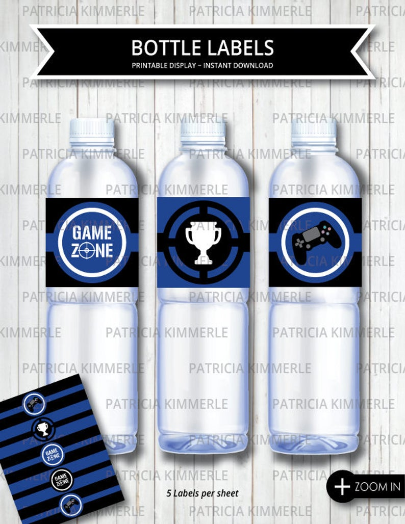 picture regarding Printable Trophy Labels called Printable Bottle Labels, Video game Zone, Video clip Activity Social gathering, Trophy,Blue,Place Up, Gamer, Sport Participate in, Birthday, Decorations,Instantaneous Obtain