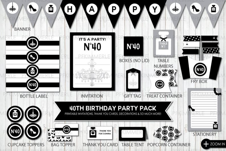 40th Birthday Forty Party Cupcake Toppers Invitation Favors Instant Download Modern Minimal Black Tie Stylish Digital