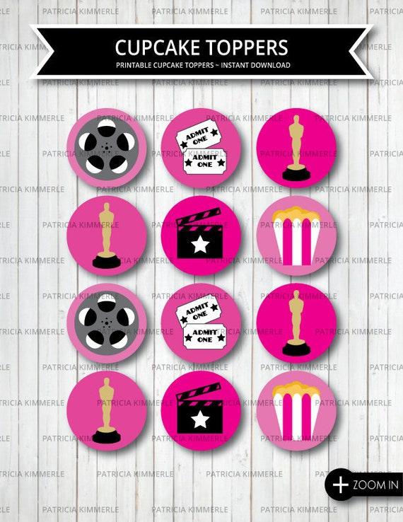 Printable Cupcake Toppers, Movie Night, Movie Party, Award, Sleepover,  Backyard Movie, Movie Birthday Party, Red Carpet, INSTANT DOWNLOAD