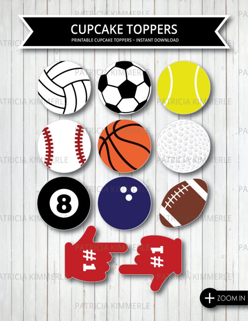 Printable Cupcake Toppers Sports Theme Birthday Party Etsy