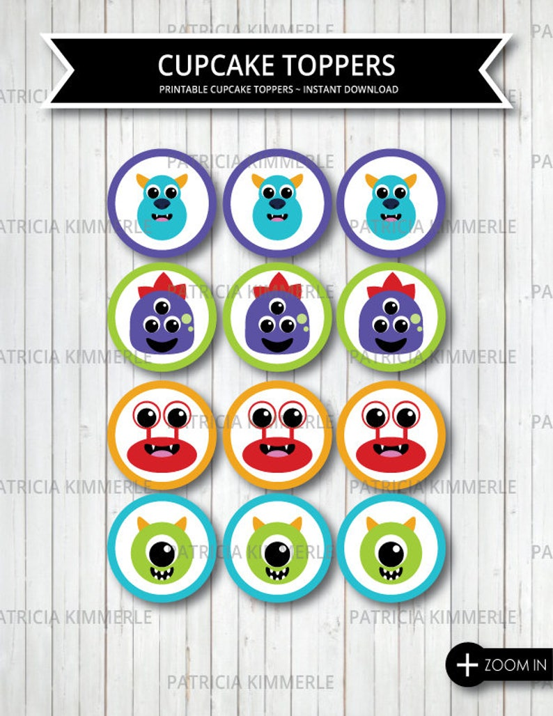 Printable Cupcake Toppers Monster Little 1st