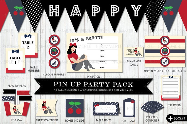 d1c3612d948c Printable Party Pack Vintage Pin Up Package B Pin Up