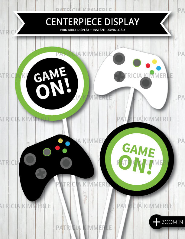 Centerpiece Printable Video Game Party On Green Teen