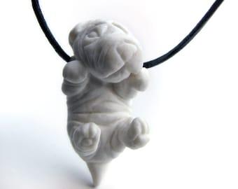 Puppy necklace porcelain shar pei