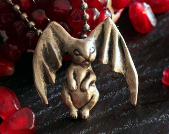 Bat bunny pendant bronze sculpture