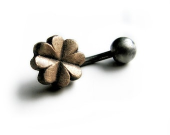 Four leaf clover belly button ring, titanium or surgical steel bar