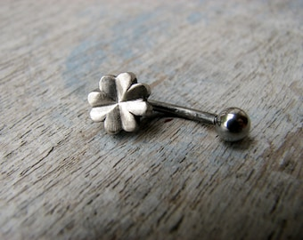 Clover belly button ring white bronze